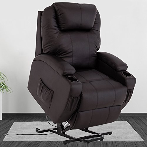 Mecor Power Lift Recliner Chair for Elderly Bonded Leather,Heavy Duty Reclining Machanism Sofa with Remote Control,Living Room Furniture Chair,Brown