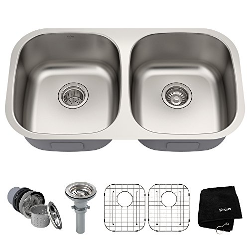 Kraus KBU22 32 inch Undermount 50/50 Double Bowl 16 gauge Stainless Steel Kitchen Sink