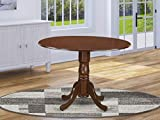 East West Furniture DLT-MAH-TP Round Table with Two 9-Inch Drop Leaves, Mahogany Finish