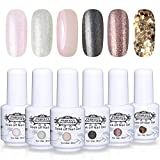 Perfect Summer Gel Nail Polish Kit - 6PCS Glitter Colors Gel Nail Varnish Soak Off UV LED Manicure Gift Set 8ML 085