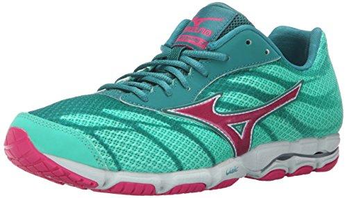 Mizuno Women's Wave Hitogami 3 Running Shoe, Malibu Blue/Fuchsia Purple, 6 B US