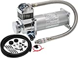 Vixen Horns 200 PSI Heavy Duty Suspension/Air Ride/Bag/Train Horn Air Compressor/Pump with 3/8' Stainless Steel Braided Hose, 3/8' NPT Check Valve and Remote Mount Air Filter Kit 12V Chrome VXC8301PRO