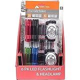 Ozark Trail 6 LED Flashlight and 8 LED Headlamp Combo 18 AAA Batteries 6 Pack