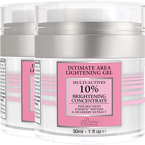 Divine Derriere Intimate Skin Lightening Gel for Body, Face, Bikini and Sensitive Areas - Skin Whitening Cream Contains Mulberry Extract, Arbutin, Peptide (2 JAR) 30ml / 1 oz.