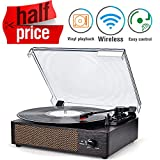 Record Player Portable LP Belt-Drive 3-Speed Turntable with Built in Stereo Speakers, Vintage Style Vinyl Record Player (Vintage Style-Brown) (Standard, Chocolate)