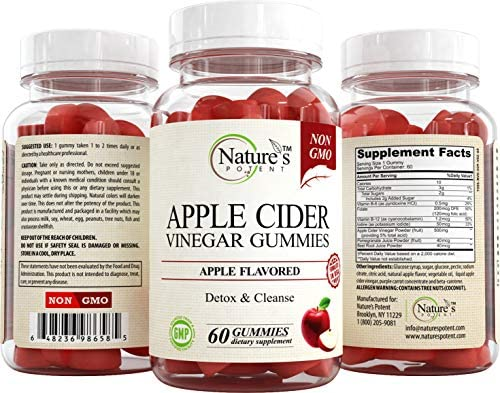 Apple Cider Vinegar Gummies 100% Non-GMO, Natural Detox and Cleanse, Unfiltered ACV – Apple Flavored Gummy Best Alternative to Apple Cider Vinegar Capsules, Pills by Nature's Potent 7