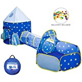 Xindinyi 3pc Rocket Ship Play Tent Astronaut Kids Playhouse with Play Crawl Tunnel and Ball Pit, Foldable Playhouse with Carry Bag (Tunnel Tent)