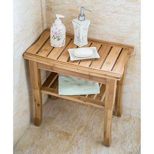 Peach Tree Home Bamboo Shower Seat Bench Spa Bath Deluxe Organizer ...