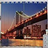 Justin Harve window Manhattan Bridge with Night Lights Over Hudson River Brooklyn Popular Town Image Custom Blackout Curtains Set of 2 Panels(100'x 84' Blue Orange
