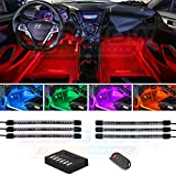 LEDGlow 6pc Flexible Million Color Multi-Color LED Interior Footwell Underdash Neon Lighting Kit for Cars & Trucks - 15 Solid Colors - 10 Unique Patterns - Music Mode - Includes Control Box & Remote