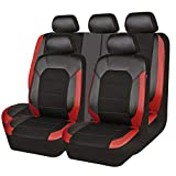 CAR PASS Leather and Mesh Universal Fit Car Seat Cover,Airbag Compaible,Zipper Designs(11PC, Black and Red)