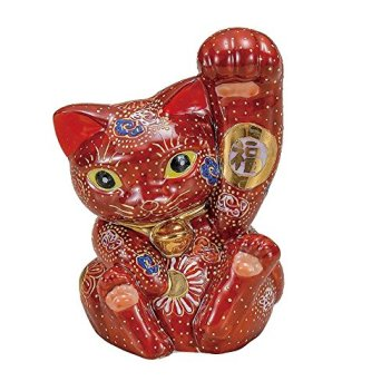 Jpanese traditional ceramic Kutani ware. Lucky charm ornament. Beckoning cat. Mori. With paper box. ktn-K5-1558