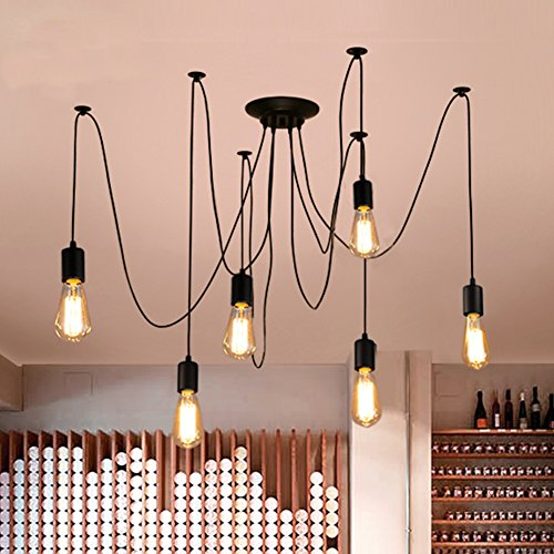 Zhma Classic Spider Pendent Lamps Ajustable Diy Ceiling Spider Light E27 Rustic Chandelier Industrial Hanging Light Dining Hall Bedroom Hotel