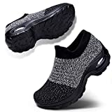 Women's Walking Shoes Slip on Athletic Tennis Breathable Running Sneakers Grey Black