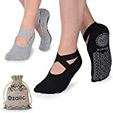 Ozaiic Yoga Socks for Women Non-Slip Grips & Straps, Ideal for Pilates, Pure Barre, Ballet, Dance, Barefoot Workout