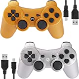 Kolopc Wireless Bluetooth Controller for PS3 Double Shock - Bundled with USB Charge Cord (Gold and Silver1)