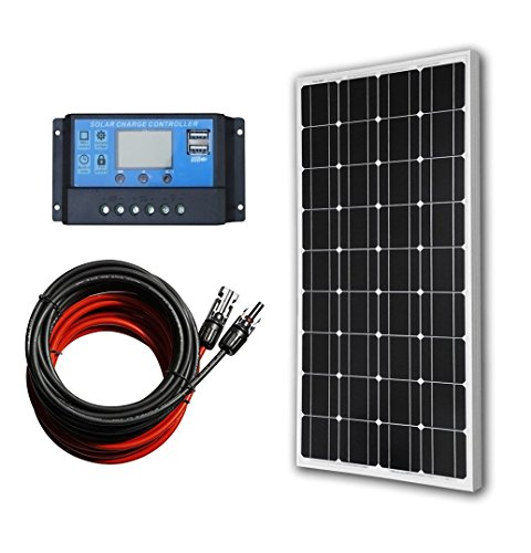 ECO-WORTHY 12 Volt 100 Watt Monocrystalline Solar Panel Kit with 20A LCD Charge Controller