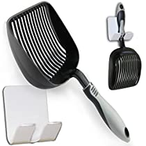 """Sifter with Deep Shovel - Designed by Cat Owners - Non Stick Plated, Solid Aluminum. """"Perfect Scooper"""" with Holder. Super Solid Handle. By iPrimio. Patented. Black"""