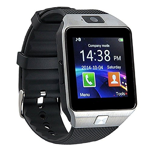 Mgaolo DZ09 Bluetooth Smart Watch Smartwatch Bracelet with Camera SIM Card Slot and Camera Pedometer Smart Health Watch for Android and IOS Smartphone (Silver)
