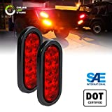2pc 6' Oval Red LED Trailer Tail Lights [DOT Certified] [Grommet & Plug Included] [IP67 Waterproof] Turn Stop Brake Trailer Lights for RV Jeep Trucks
