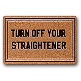 UlanLi Turn Off Your Straightener Doormat Entrance Floor Mat Indoor/Outdoor Rubber Non Slip Doormat For Patio Front Door 23.6 x 15.7 Entrance Floor Mat