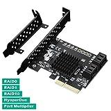 N N.ORANIE 4-Port SATA III 6Gbps PCIE RAID Host Controller Card Support HyperDuo SSD Tiering IPFS Hard Disk Port Multiplier Marvell 88SE9230 Chipset