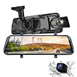 Mirror Dash Cam Dual Dash Cam 10' Full HD Touch Screen Backup Camera for Car Stream Media Dual Len 170°1080P Front+150°1296P Rear View Dashcam WDR Night Version Loop Recording G-Sensor Parking Monitor