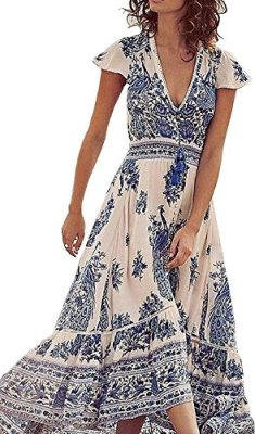 32da3dfae10 Bestdress Women s Sexy Deep V Floral Print Button Front Boho Maxi Long  Beach Dress Medium Ceramics