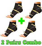 HealthyNees 2 Pairs Combo Foot Ankle Compression Reduce Plantar Fasciitis Heel Arch Pain Sock Sleeve (L/XL)