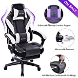 VON RACER Massage Reclining Gaming Chair - Ergonomic High-Back Racing Computer Desk Office Chair with Retractable Footrest and Adjustable Lumbar Cushion, Gray/White