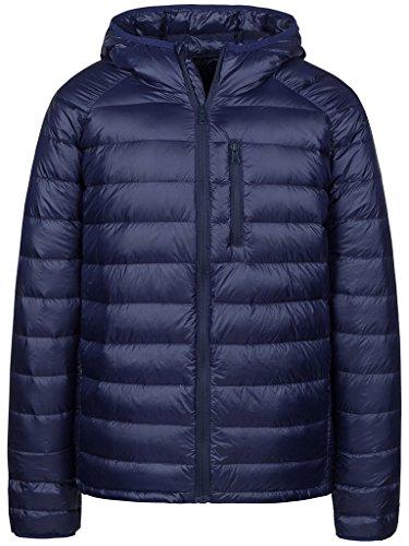 Wantdo Men's Packable Ultra Light Weight Hooded Puffer Down Jacket(Navy,L)