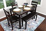 LIFE Home 4 Person - 5 Piece Kitchen Dining Table Set - 1 Table, 3 Leather Chairs & 1 Bench Espresso Brown J150232Espresso