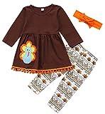 Toddler Baby Girls Turkey Print Dress Shirt Tops Pants Thanksgiving Day Outfits Set Size 1-2 Years/Tag90 (Khaki)