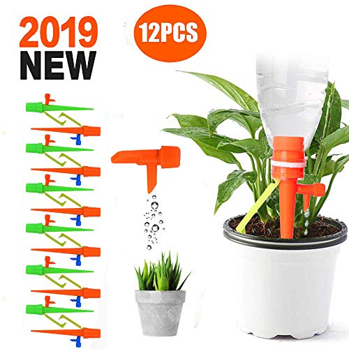 MUXIN 12Pcs Plant Watering Spikes System Automatic Drip Irrigation System Plant Waterer with Slow Release Control Valve Switch Self Irrigation Watering Drip Devices for Indoor Outdoor Plants