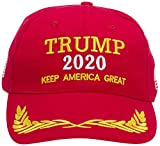 Stephanie Imports Trump 2020 Keep America Great Red Hat Baseball Cap with Gold Embroidered Oak Leaf Trim