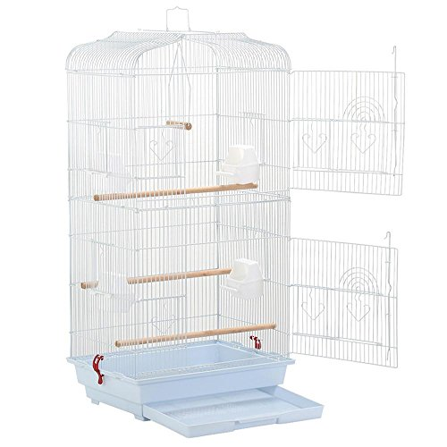 Yaheetech 36' Portable Hanging Medium Size Bird Cage for Small Quaker Indian Ring Neck Parrots Cockatiels Sun Parakeets Green Cheek Conures Finches Canary Budgies Lovebirds Travel Bird Cage, White