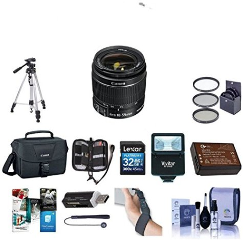 Canon-EOS-Rebel-T6-DSLR-Digital-Camera-with-EF-S-18-55mm-f35-56-IS-II-Lens-Lexar-SD-32GB-MemoryCard-58mm-UV-Filter-Kit-Tripod-Creative-Suite-Software-Deluxe-Accessory-Kit