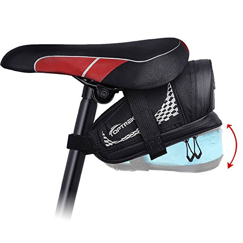 TOPTREK Bike Saddle Bag Outdoor Water Resistant Bike Bag Bicycle Seat Bag with Expandable Capacity and Waterproof Zipper Cycling Under Saddle Bag for Foldable/Road/Mountain Bike (Black I)
