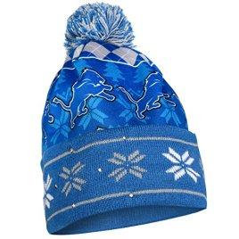 NFL Detroit Lions Busy Block Printed Light Up Beanie, One Size, Blue