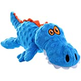 goDog Gators With Chew Guard Technology Tough Plush Dog Toy, Blue, Large