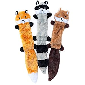 Zippy Paws Skinny Peltz Dog Toy Fox Raccoon and Squirrel
