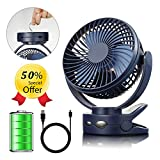 efluky 4 Speeds Desk Clip Fan with Two Adjustable Lights and 3600mAh Rechargeable Battery Operated Fan, Portable USB Fan for Baby Stroller Crib,Camping, BBQ Outdoor Indoor Activity, 6.3-Inch, Blue