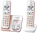 PANASONIC Expandable Cordless Phone System with Link2Cell Bluetooth, Voice Assistant, Answering Machine and Call Blocking - 2 Cordless Handsets - KX-TGD562G (Rose Gold/White)