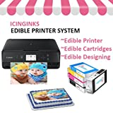 Bakery Edible Image Printer Bundle Package - Includes Wireless Canon Cake Printer, Edible Ink Cartridges, Free Image Designing Lifetime By Icinginks