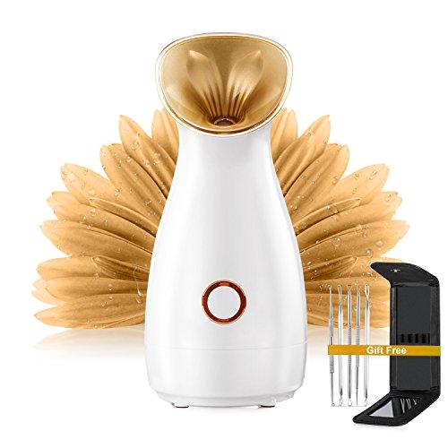 Nano Ionic Warm Mist Facial Steamer,ECVISION Personal Sauna SPA Nano Steamer Hot Mist Face Atomizer Humidifier moisturizing salon skin care pores cleanse (Gloden)