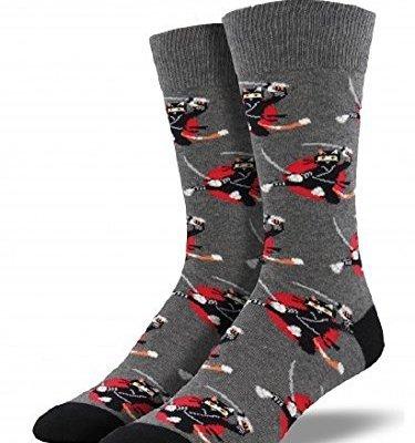 Socksmith Mens Ninja Cats Heather Gray,Sock Size 10-13