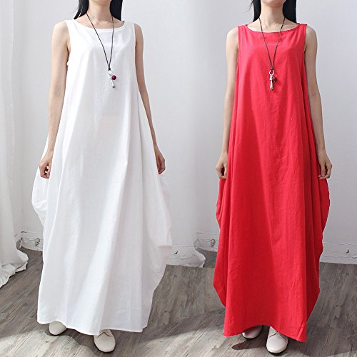 9909ebf434 Romacci Women Maxi Sleeveless Dress Plus Size Pockets O Neck Solid Loose  Swing Tank Tunic Dress White Red