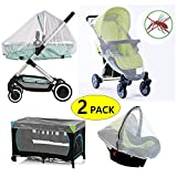 Baby Mosquito Net for Strollers, Pack'n'Plays, Car Seat & Bassinets, Playpens & Cribs (2 Pack)