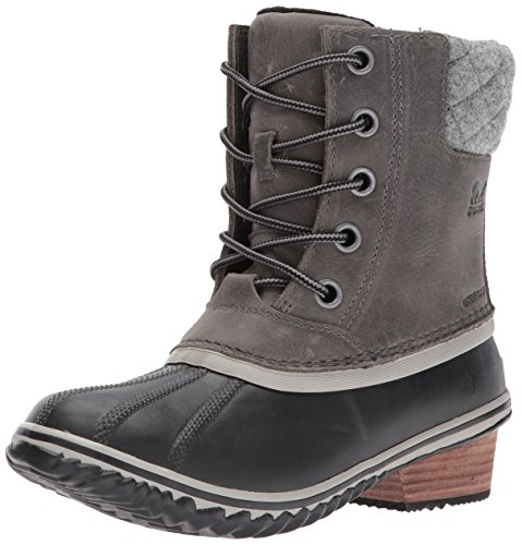 SOREL Women's Slimpack Lace II Snow Boot, Quarry, Black, 7.5 M US