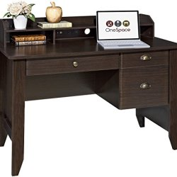 OneSpace Executive Desk with Hutch, Espresso